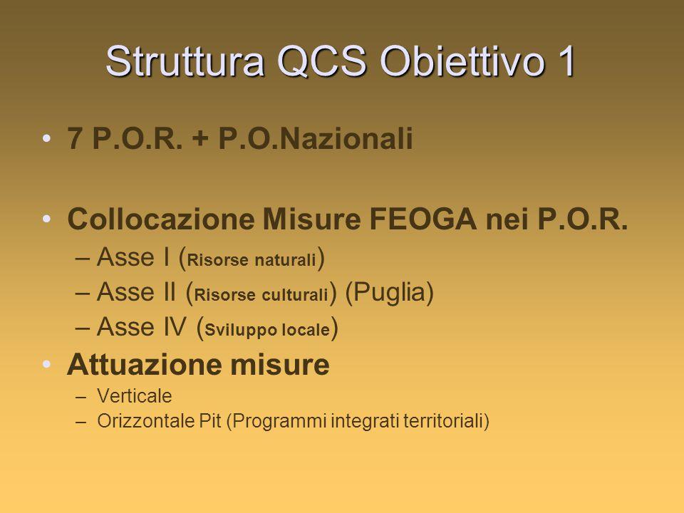 Struttura QCS Obiettivo 1 7 P.O.R. + P.O.Nazionali Collocazione Misure FEOGA nei P.O.R. –Asse I ( Risorse naturali ) –Asse II ( Risorse culturali ) (P