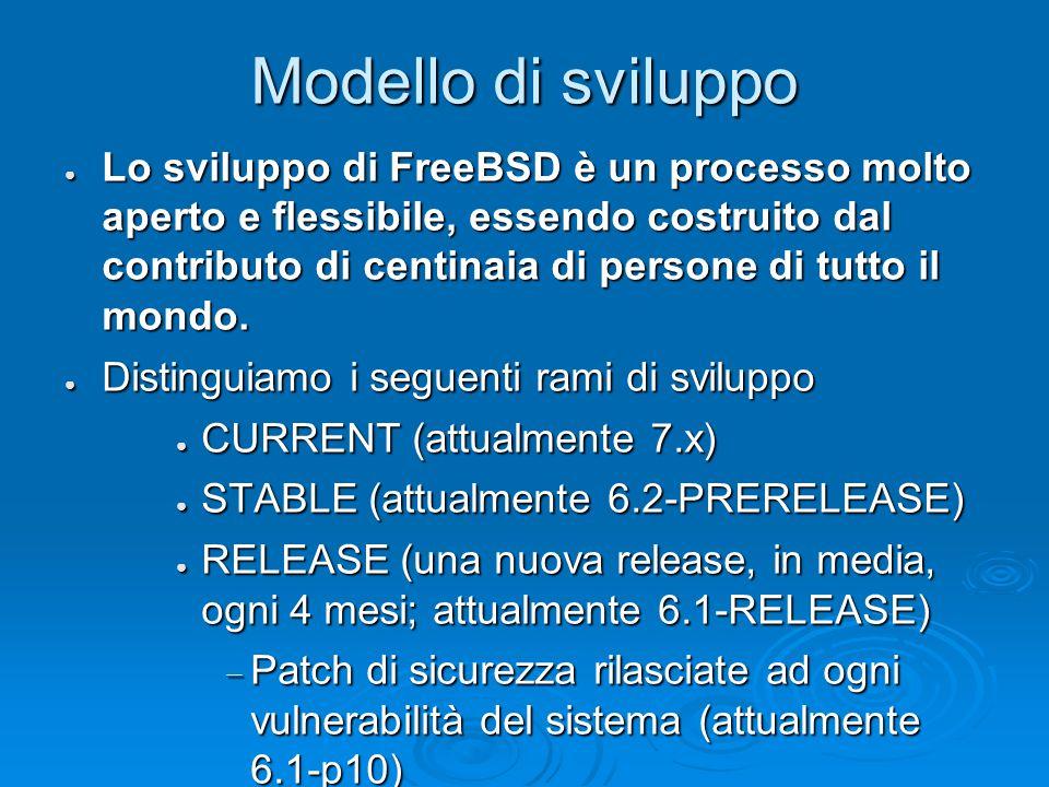 Modello di sviluppo ● Lo sviluppo di FreeBSD è un processo molto aperto e flessibile, essendo costruito dal contributo di centinaia di persone di tutto il mondo.