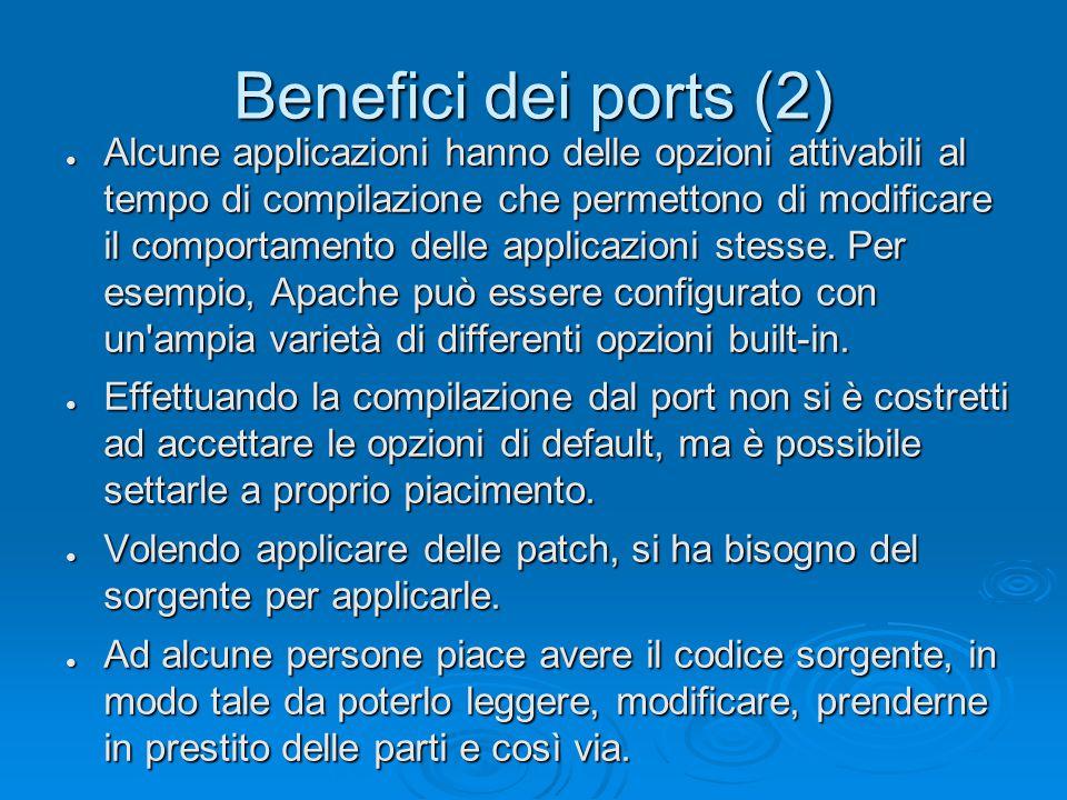 Benefici dei ports (2) ● Alcune applicazioni hanno delle opzioni attivabili al tempo di compilazione che permettono di modificare il comportamento delle applicazioni stesse.