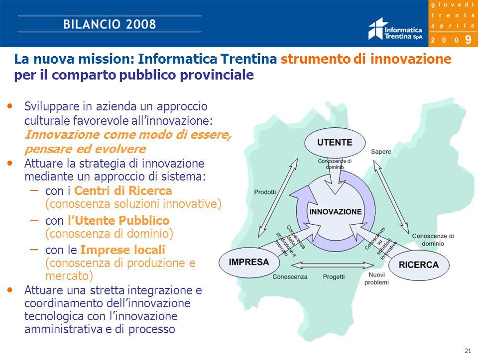 21 La nuova mission: Informatica Trentina strumento di innovazione per il comparto pubblico provinciale Sviluppare in azienda un approccio culturale favorevole all'innovazione: Innovazione come modo di essere, pensare ed evolvere Attuare la strategia di innovazione mediante un approccio di sistema: – con i Centri di Ricerca (conoscenza soluzioni innovative) – con l'Utente Pubblico (conoscenza di dominio) – con le Imprese locali (conoscenza di produzione e mercato) Attuare una stretta integrazione e coordinamento dell'innovazione tecnologica con l'innovazione amministrativa e di processo