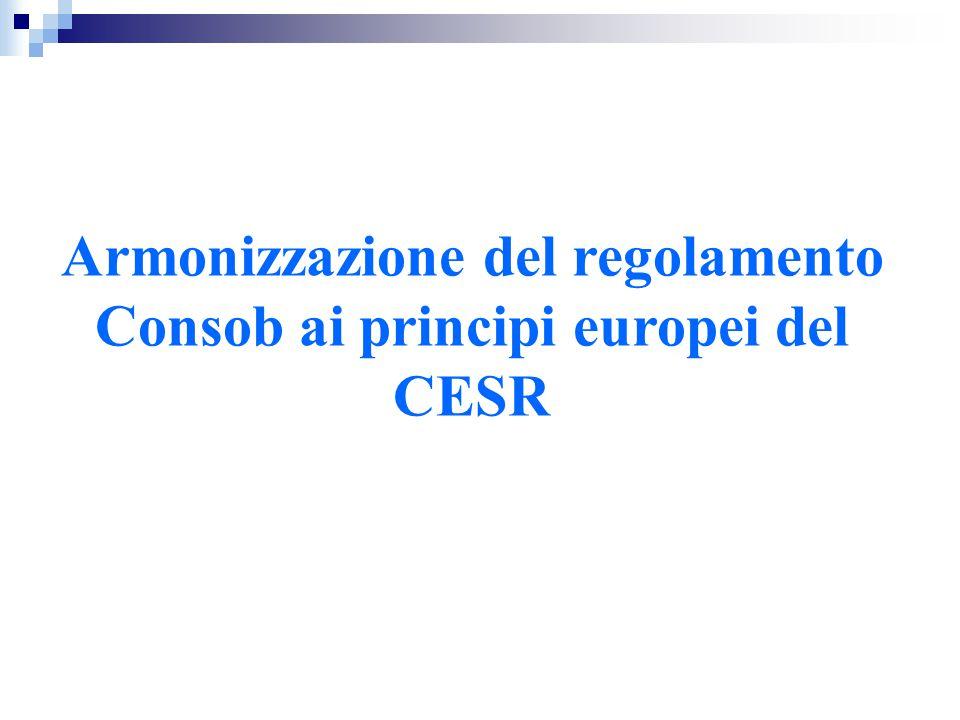 CESR -comitato regolatore della sicurezza degli scambi finanziari in Europa -è stato fondato nel giugno 2001 dall'European Commission Decision.