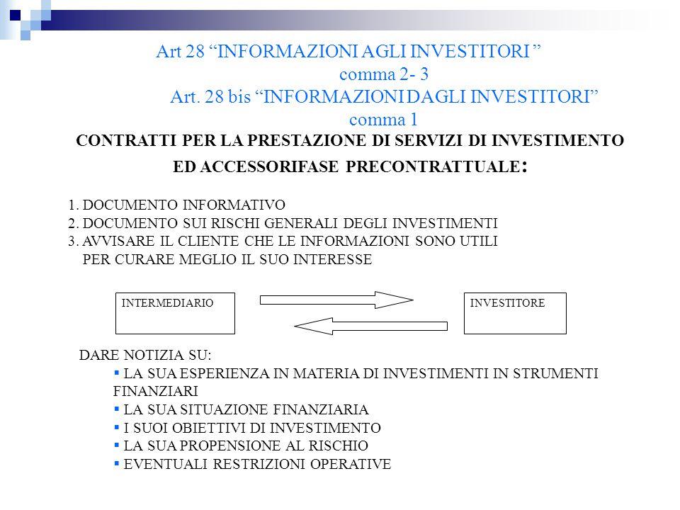 """Art 28 """"INFORMAZIONI AGLI INVESTITORI """" comma 2- 3 Art. 28 bis """"INFORMAZIONI DAGLI INVESTITORI"""" comma 1 CONTRATTI PER LA PRESTAZIONE DI SERVIZI DI INV"""