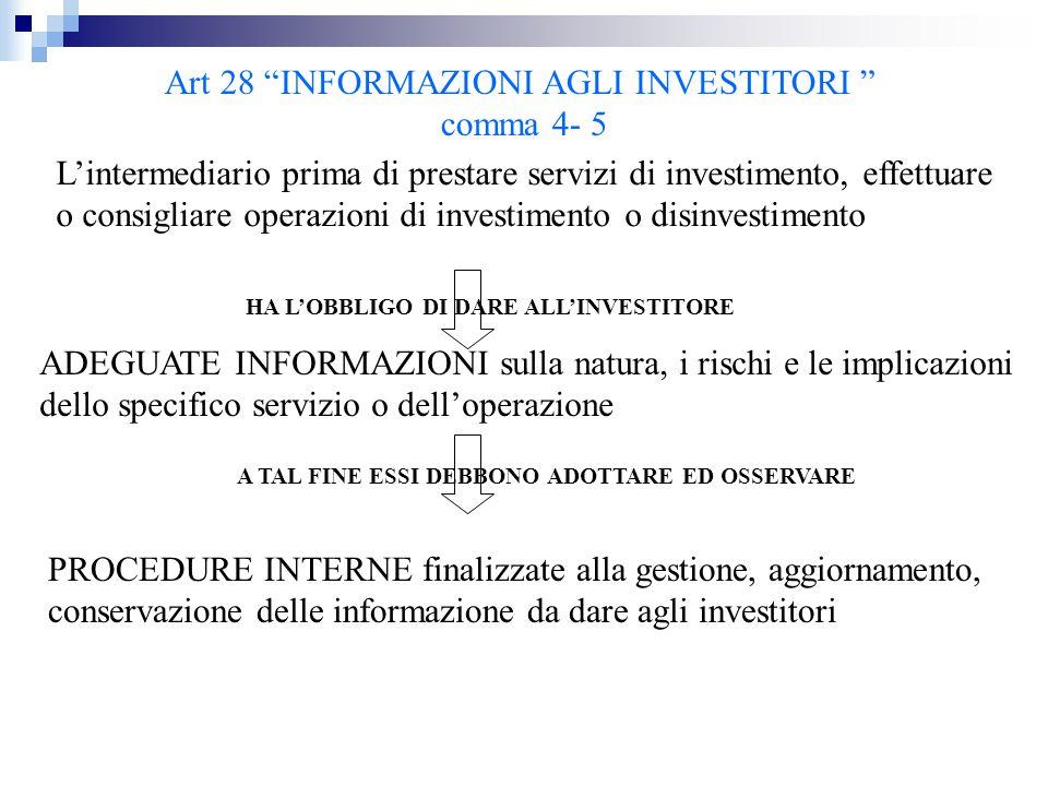 """Art 28 """"INFORMAZIONI AGLI INVESTITORI """" comma 4- 5 L'intermediario prima di prestare servizi di investimento, effettuare o consigliare operazioni di i"""