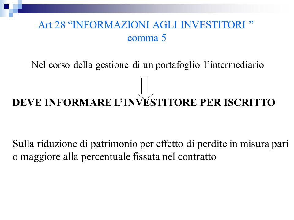 """Art 28 """"INFORMAZIONI AGLI INVESTITORI """" comma 5 Nel corso della gestione di un portafoglio l'intermediario DEVE INFORMARE L'INVESTITORE PER ISCRITTO S"""