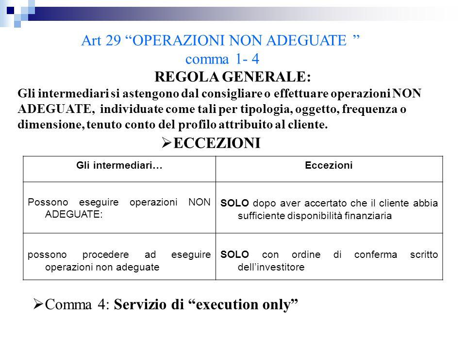 """Art 29 """"OPERAZIONI NON ADEGUATE """" comma 1- 4 REGOLA GENERALE: Gli intermediari si astengono dal consigliare o effettuare operazioni NON ADEGUATE, indi"""