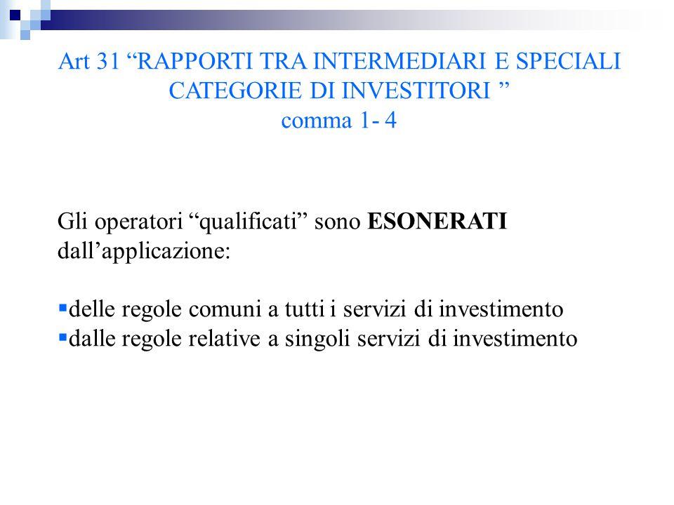 """Art 31 """"RAPPORTI TRA INTERMEDIARI E SPECIALI CATEGORIE DI INVESTITORI """" comma 1- 4 Gli operatori """"qualificati"""" sono ESONERATI dall'applicazione:  del"""