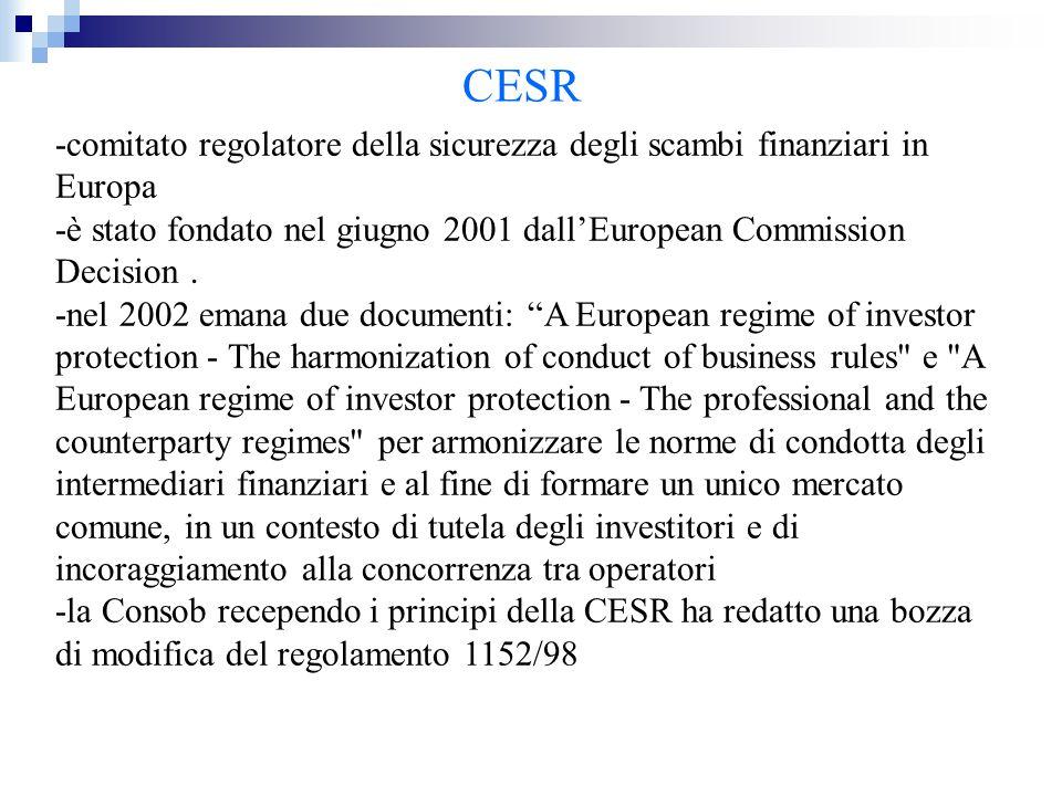 CESR -comitato regolatore della sicurezza degli scambi finanziari in Europa -è stato fondato nel giugno 2001 dall'European Commission Decision. -nel 2