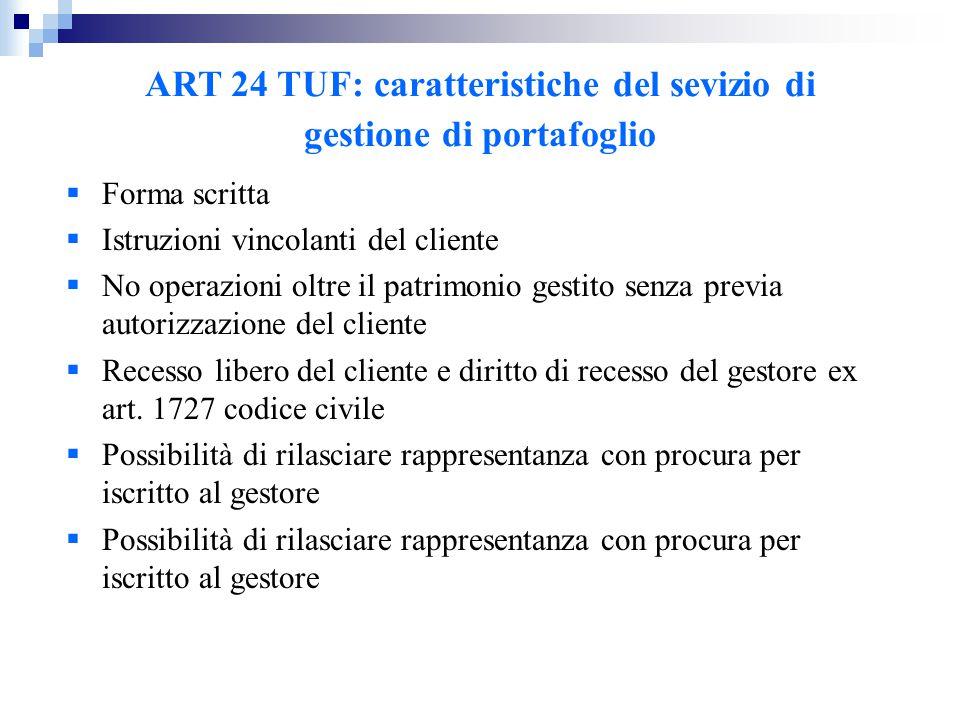 ART 24 TUF: caratteristiche del sevizio di gestione di portafoglio  Forma scritta  Istruzioni vincolanti del cliente  No operazioni oltre il patrim