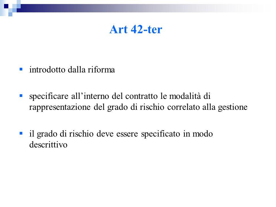 Art 42-ter  introdotto dalla riforma  specificare all'interno del contratto le modalità di rappresentazione del grado di rischio correlato alla gestione  il grado di rischio deve essere specificato in modo descrittivo