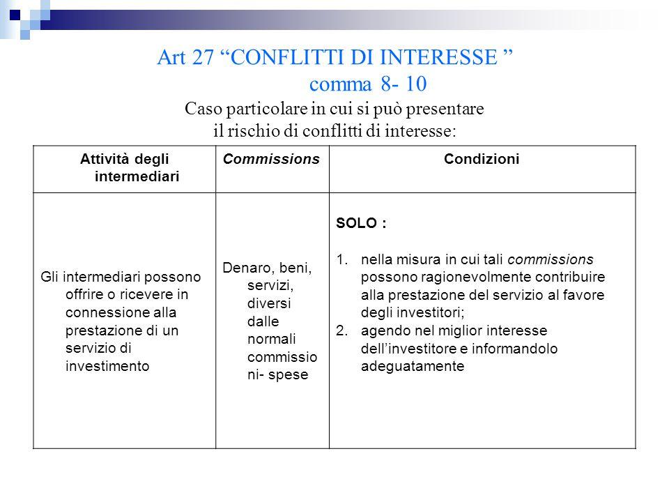 """Art 27 """"CONFLITTI DI INTERESSE """" comma 8- 10 Caso particolare in cui si può presentare il rischio di conflitti di interesse: Attività degli intermedia"""