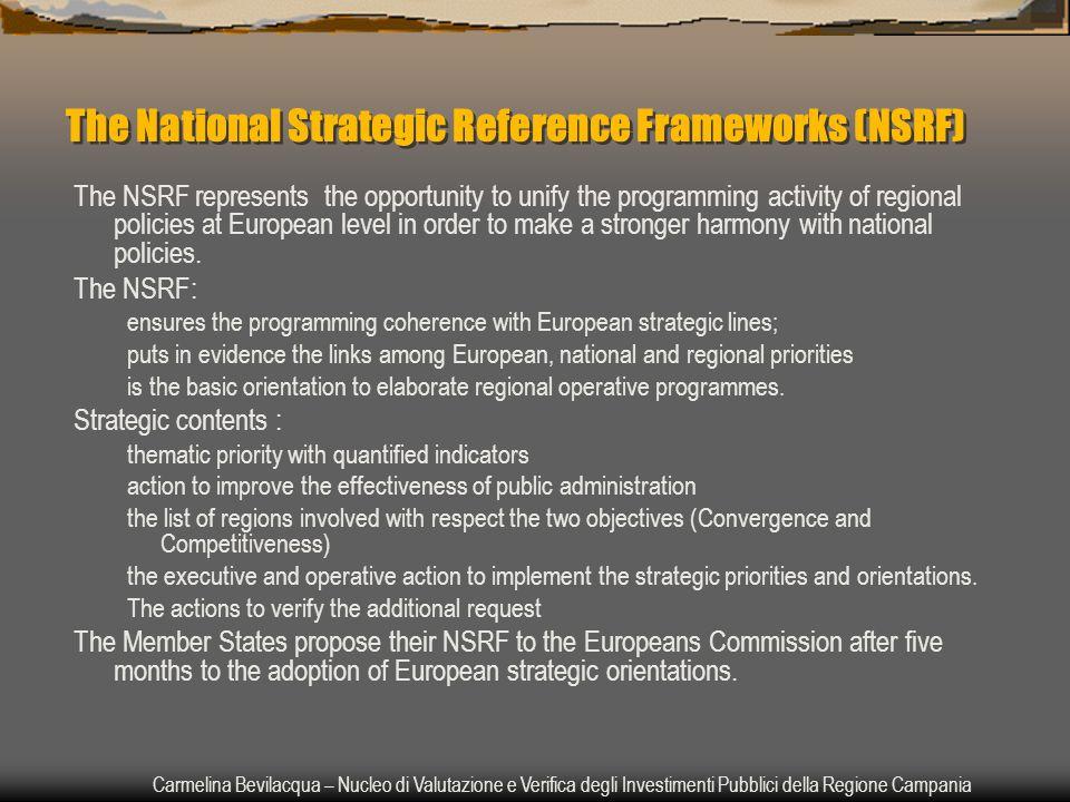 Carmelina Bevilacqua – Nucleo di Valutazione e Verifica degli Investimenti Pubblici della Regione Campania The National Strategic Reference Frameworks