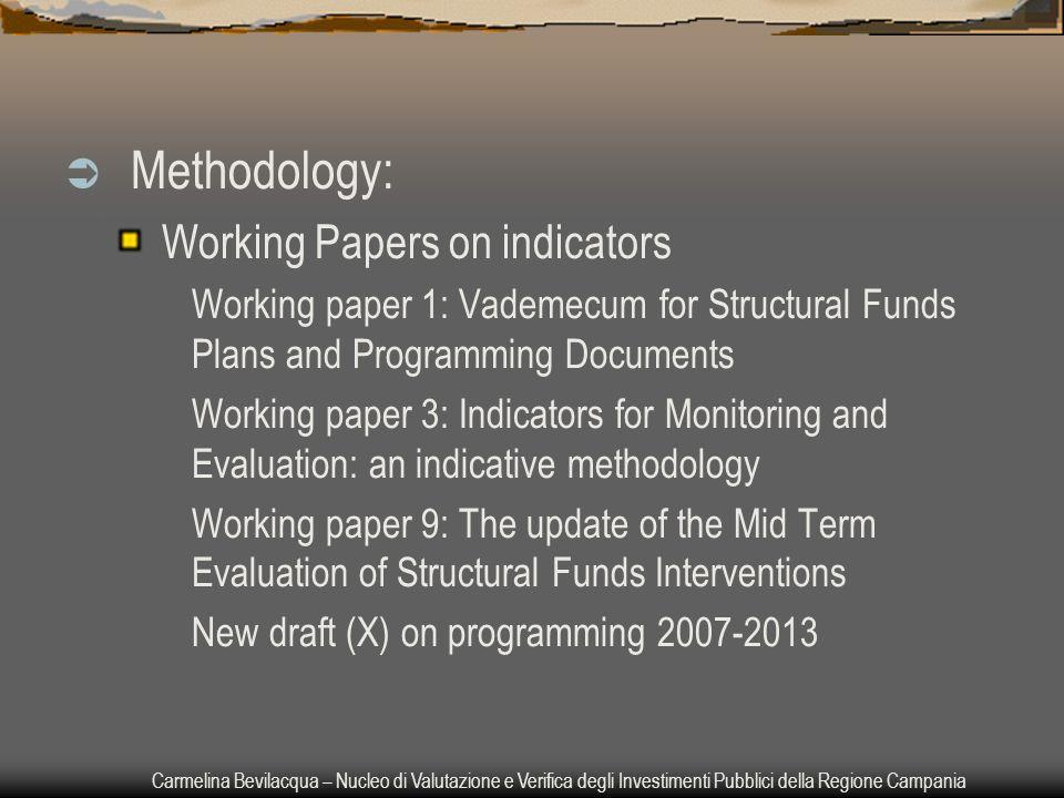 Carmelina Bevilacqua – Nucleo di Valutazione e Verifica degli Investimenti Pubblici della Regione Campania  Methodology: Working Papers on indicators