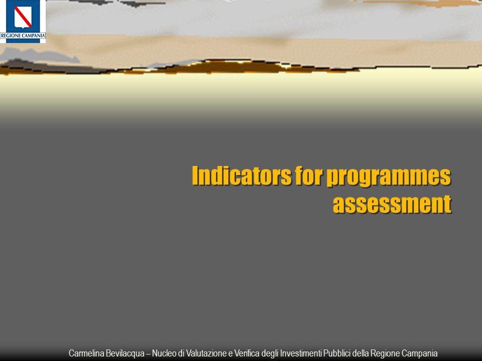 Carmelina Bevilacqua – Nucleo di Valutazione e Verifica degli Investimenti Pubblici della Regione Campania Indicators for programmes assessment