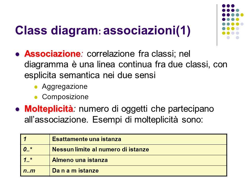 Class diagram : associazioni(1) Associazione Associazione: correlazione fra classi; nel diagramma è una linea continua fra due classi, con esplicita s