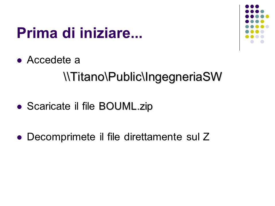 Prima di iniziare... Accedete a\\Titano\Public\IngegneriaSW BOUML.zip Scaricate il file BOUML.zip Decomprimete il file direttamente sul Z