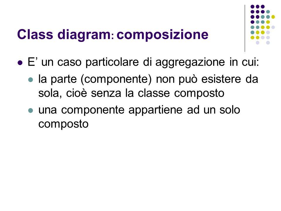 Class diagram : composizione E' un caso particolare di aggregazione in cui: la parte (componente) non può esistere da sola, cioè senza la classe compo
