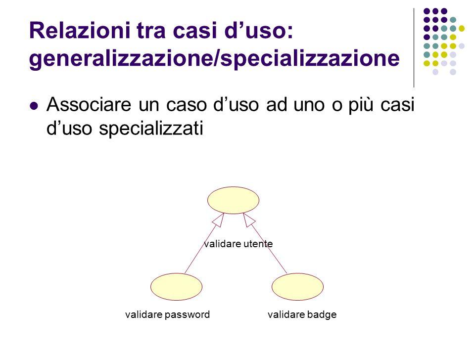 Relazioni tra casi d'uso: generalizzazione/specializzazione Associare un caso d'uso ad uno o più casi d'uso specializzati validare utente validare pas