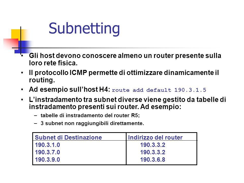 Subnetting Gli host devono conoscere almeno un router presente sulla loro rete fisica. Il protocollo ICMP permette di ottimizzare dinamicamente il rou