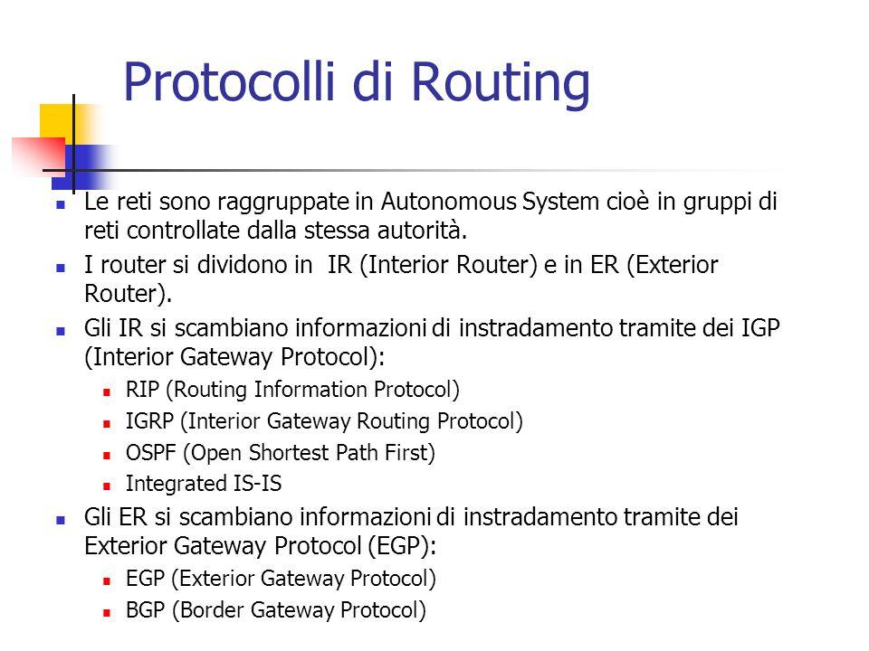 Protocolli di Routing Le reti sono raggruppate in Autonomous System cioè in gruppi di reti controllate dalla stessa autorità. I router si dividono in