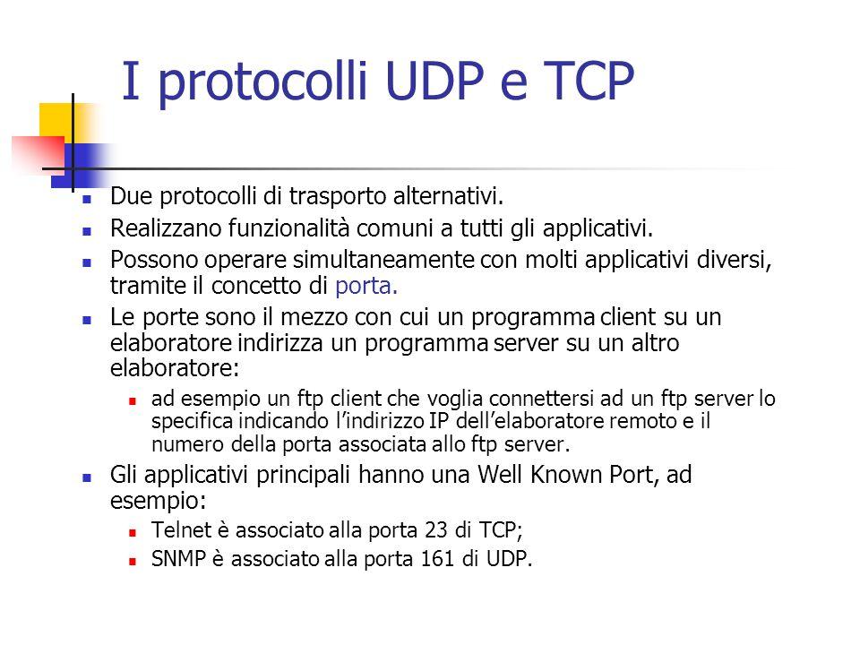 I protocolli UDP e TCP Due protocolli di trasporto alternativi. Realizzano funzionalità comuni a tutti gli applicativi. Possono operare simultaneament