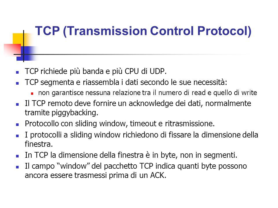 TCP richiede più banda e più CPU di UDP. TCP segmenta e riassembla i dati secondo le sue necessità: non garantisce nessuna relazione tra il numero di
