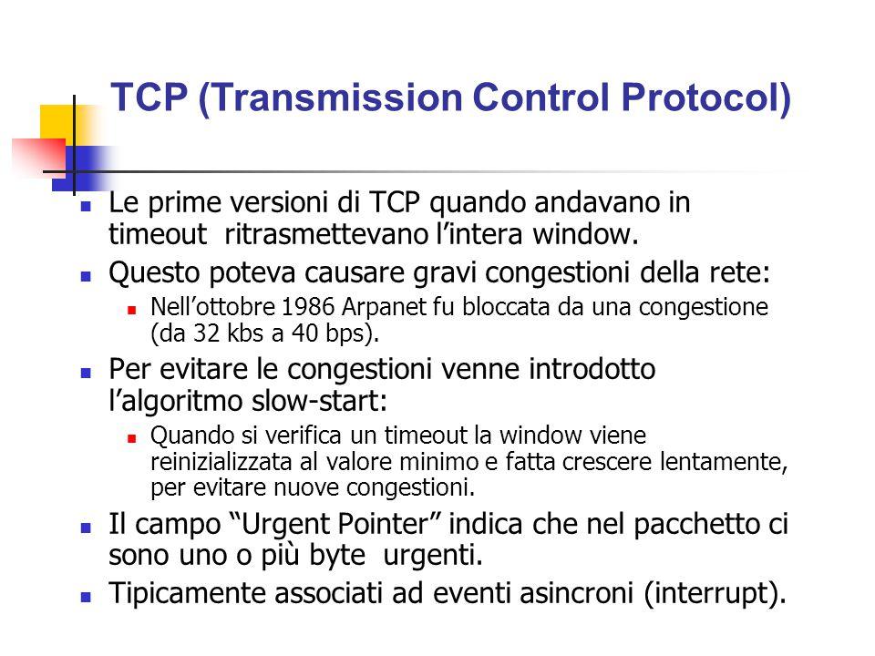 Le prime versioni di TCP quando andavano in timeout ritrasmettevano l'intera window. Questo poteva causare gravi congestioni della rete: Nell'ottobre