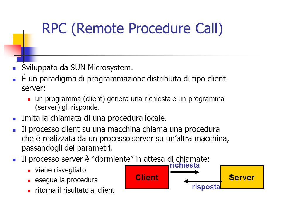 RPC (Remote Procedure Call) Sviluppato da SUN Microsystem.