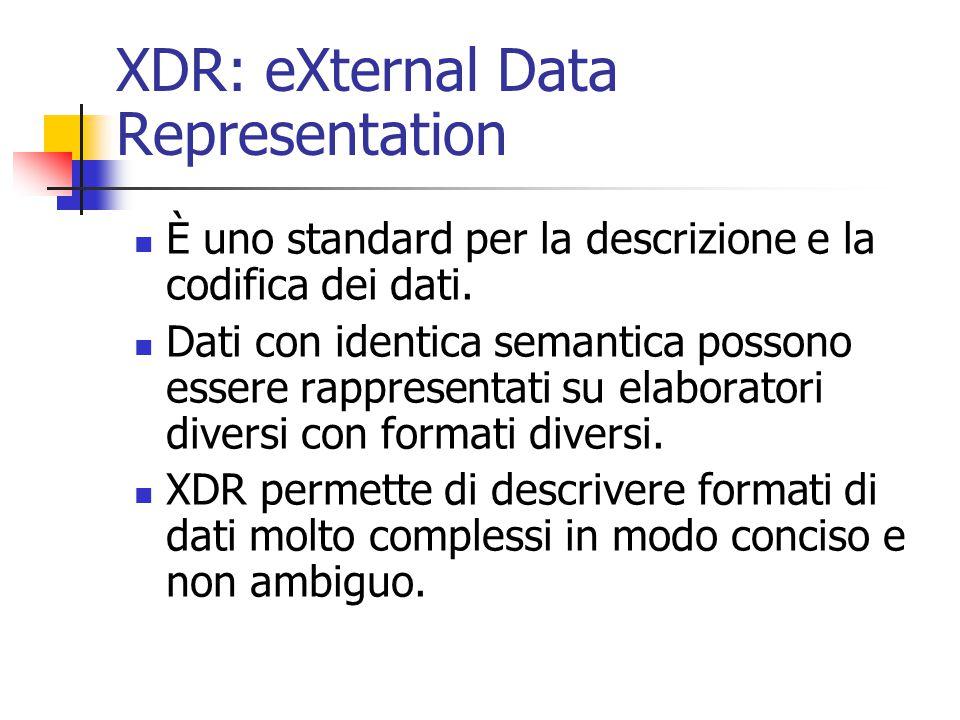 XDR: eXternal Data Representation È uno standard per la descrizione e la codifica dei dati. Dati con identica semantica possono essere rappresentati s