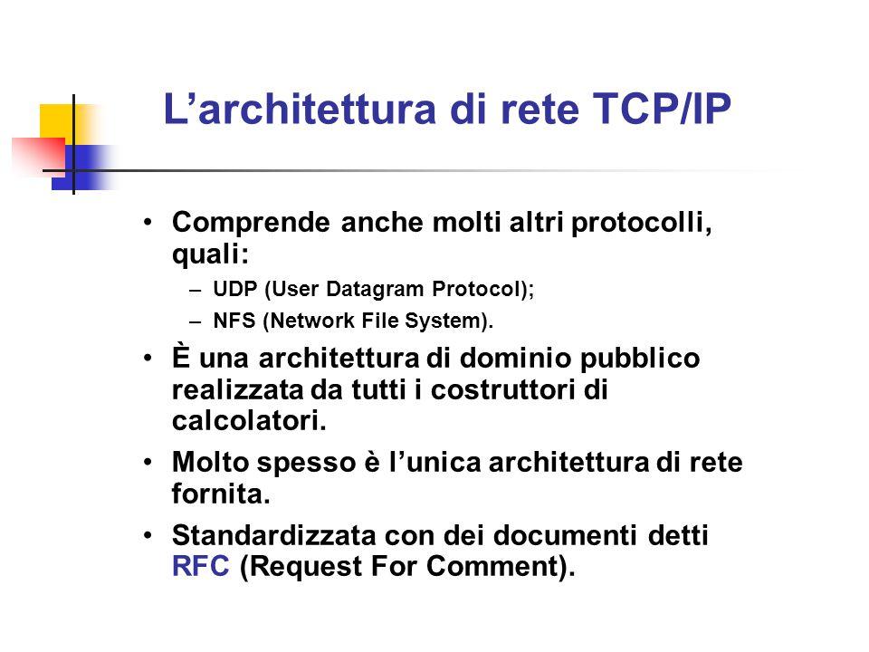 L'architettura di rete TCP/IP Comprende anche molti altri protocolli, quali: –UDP (User Datagram Protocol); –NFS (Network File System). È una architet
