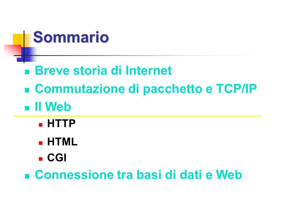 Sommario Sommario Breve storia di Internet Commutazione di pacchetto e TCP/IP Il Web HTTP HTML CGI Connessione tra basi di dati e Web