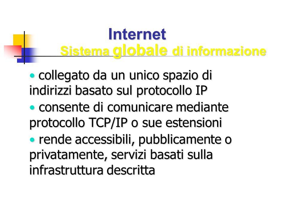 Internet collegato da un unico spazio di indirizzi basato sul protocollo IP collegato da un unico spazio di indirizzi basato sul protocollo IP consent