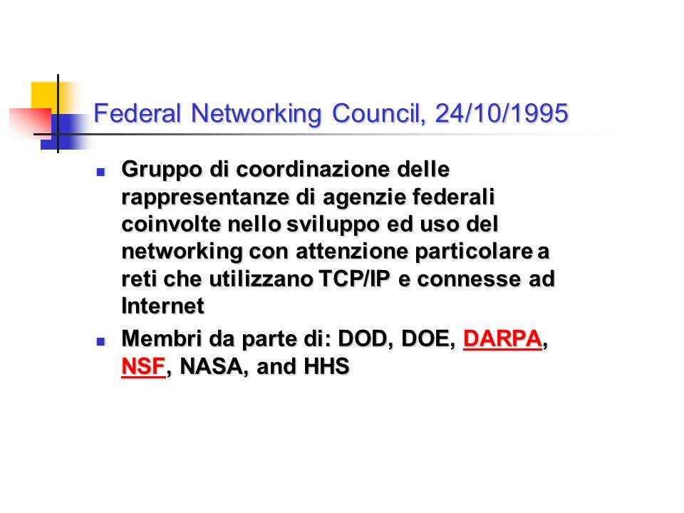 Federal Networking Council, 24/10/1995 Gruppo di coordinazione delle rappresentanze di agenzie federali coinvolte nello sviluppo ed uso del networking