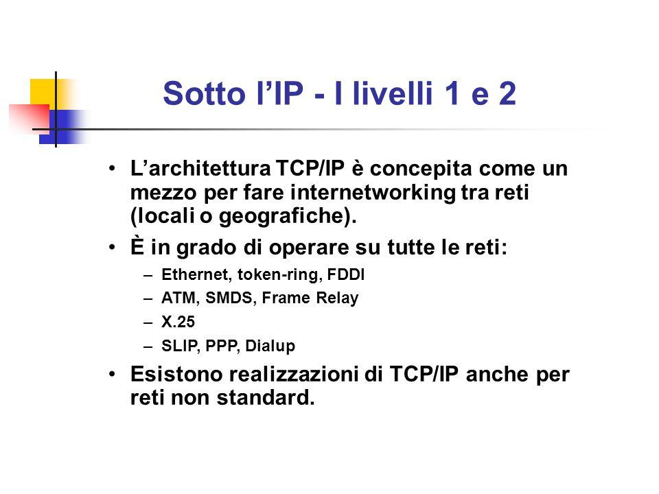 Sotto l'IP - I livelli 1 e 2 L'architettura TCP/IP è concepita come un mezzo per fare internetworking tra reti (locali o geografiche). È in grado di o
