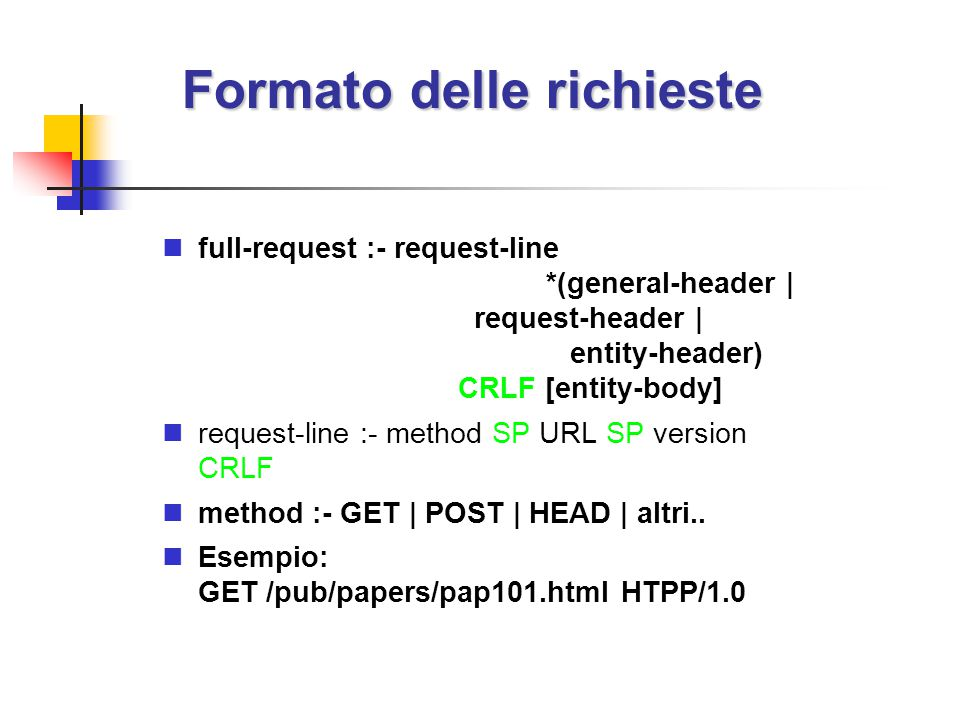 Formato delle richieste full-request :- request-line *(general-header | request-header | entity-header) CRLF [entity-body] request-line :- method SP URL SP version CRLF method :- GET | POST | HEAD | altri..