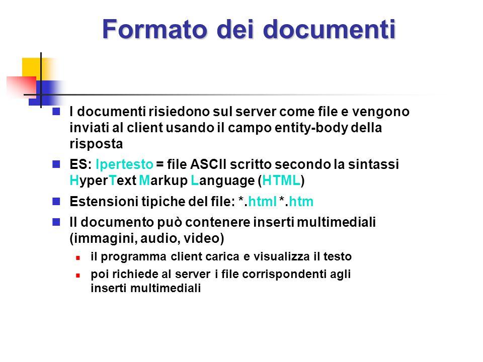 Formato dei documenti I documenti risiedono sul server come file e vengono inviati al client usando il campo entity-body della risposta ES: Ipertesto
