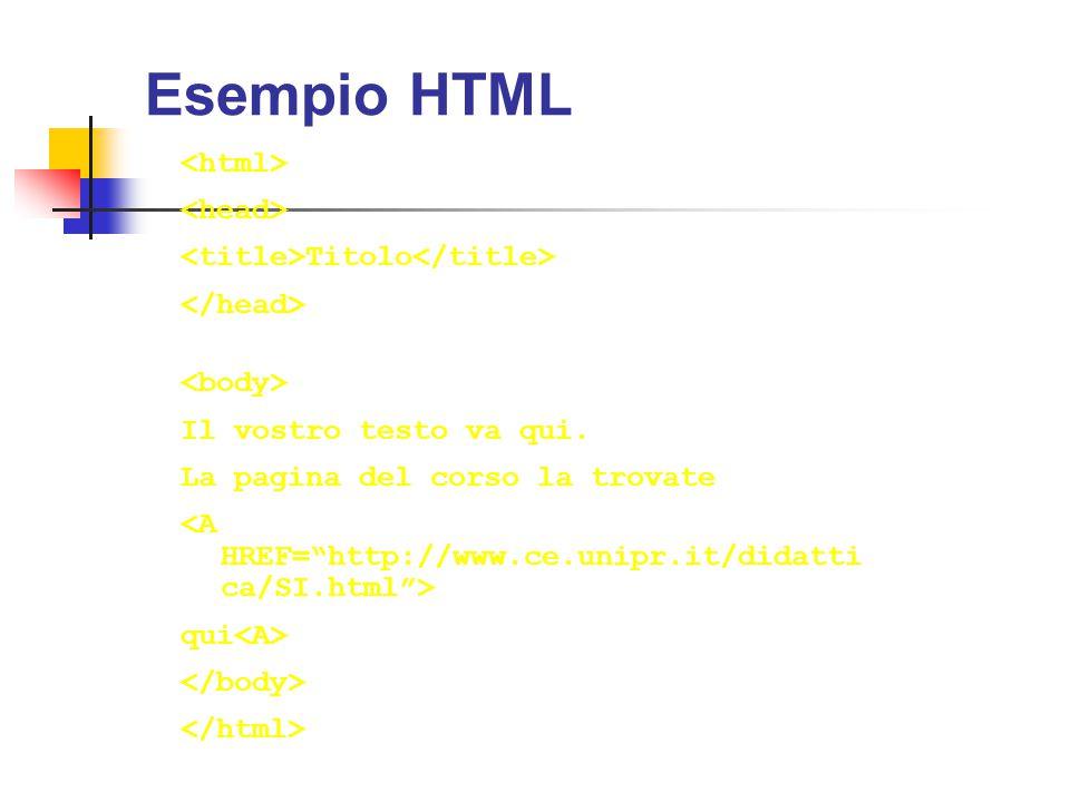Esempio HTML Titolo Il vostro testo va qui. La pagina del corso la trovate qui