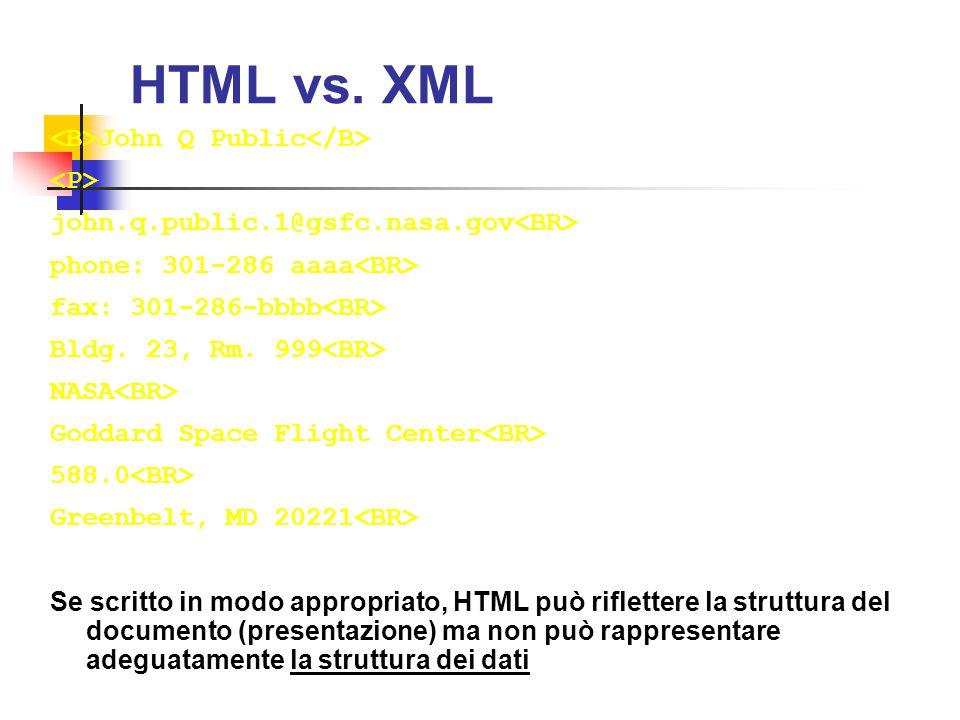 HTML vs. XML John Q Public john.q.public.1@gsfc.nasa.gov phone: 301-286 aaaa fax: 301-286-bbbb Bldg. 23, Rm. 999 NASA Goddard Space Flight Center 588.