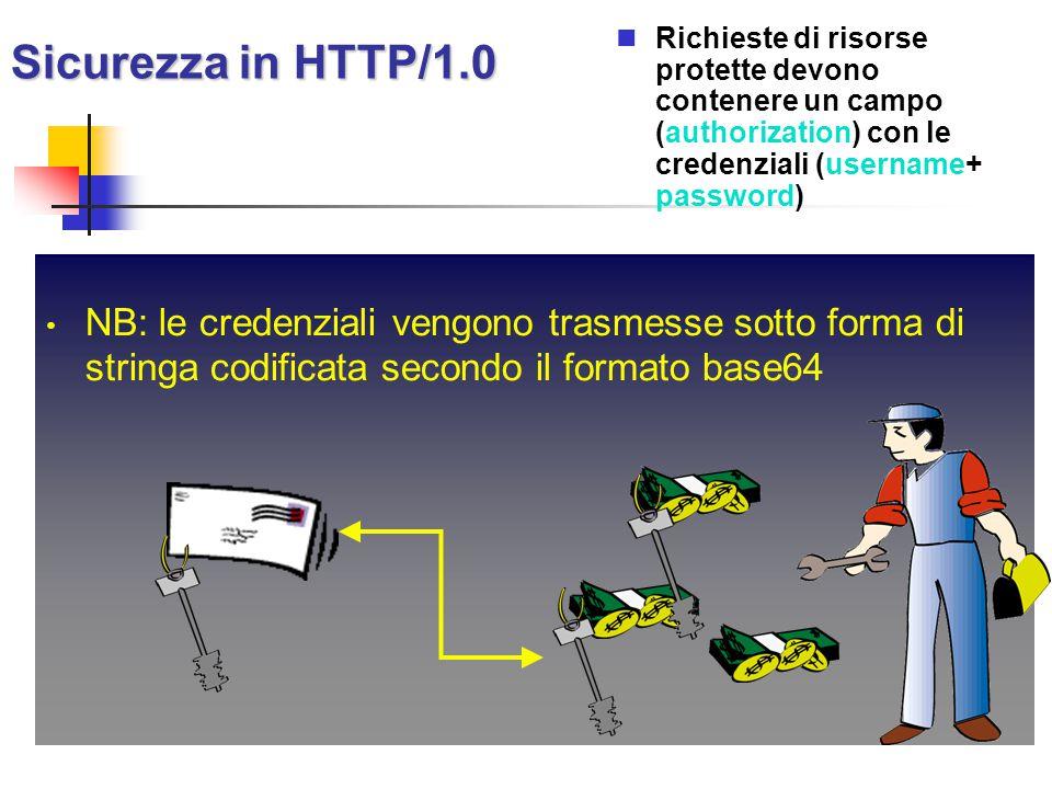 Sicurezza in HTTP/1.0 Richieste di risorse protette devono contenere un campo (authorization) con le credenziali (username+ password) NB: le credenzia