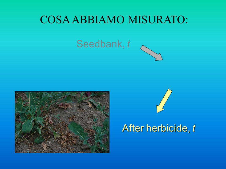 Seedbank, t After herbicide, t COSA ABBIAMO MISURATO: