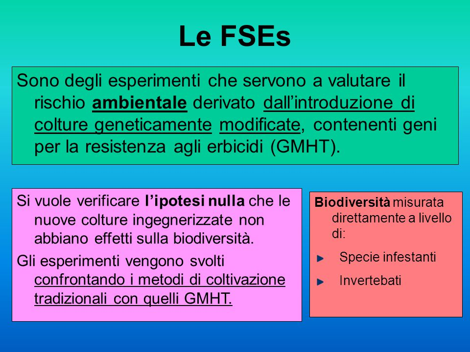 Le FSEs Sono degli esperimenti che servono a valutare il rischio ambientale derivato dall'introduzione di colture geneticamente modificate, contenenti geni per la resistenza agli erbicidi (GMHT).