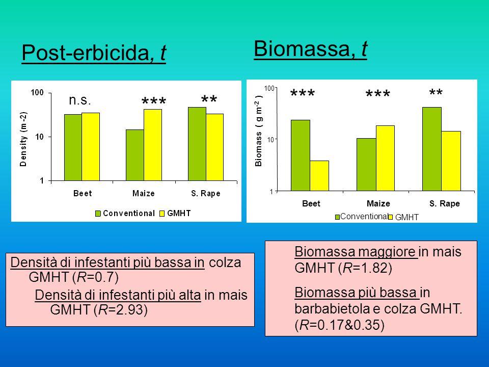 Densità di infestanti più bassa in colza GMHT (R=0.7) Densità di infestanti più alta in mais GMHT (R=2.93) n.s.