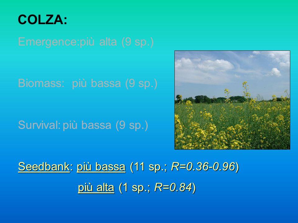 COLZA: Emergence:più alta (9 sp.) Biomass: più bassa (9 sp.) Survival:più bassa (9 sp.) Seedbank: più bassa (11 sp.; R=0.36-0.96) più alta (1 sp.; R=0.84) più alta (1 sp.; R=0.84)