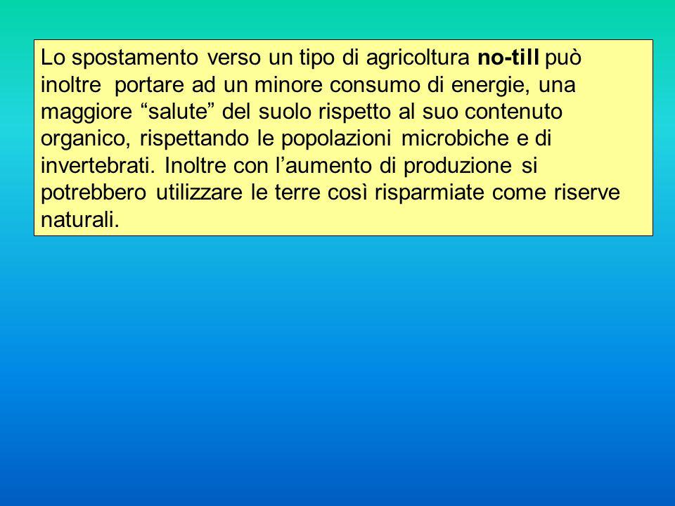Lo spostamento verso un tipo di agricoltura no-till può inoltre portare ad un minore consumo di energie, una maggiore salute del suolo rispetto al suo contenuto organico, rispettando le popolazioni microbiche e di invertebrati.