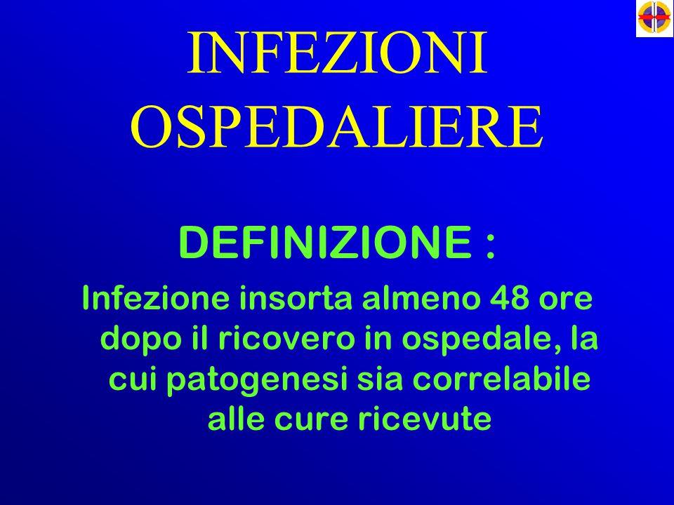 INFEZIONI OSPEDALIERE DEFINIZIONE : Infezione insorta almeno 48 ore dopo il ricovero in ospedale, la cui patogenesi sia correlabile alle cure ricevute