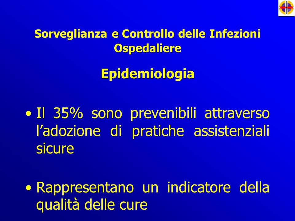 Epidemiologia Il 35% sono prevenibili attraverso l'adozione di pratiche assistenziali sicure Rappresentano un indicatore della qualità delle cure