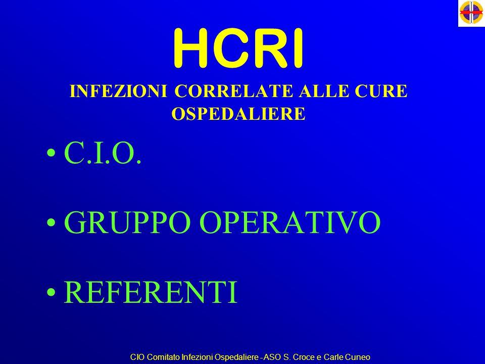 HCRI INFEZIONI CORRELATE ALLE CURE OSPEDALIERE C.I.O. GRUPPO OPERATIVO REFERENTI CIO Comitato Infezioni Ospedaliere - ASO S. Croce e Carle Cuneo