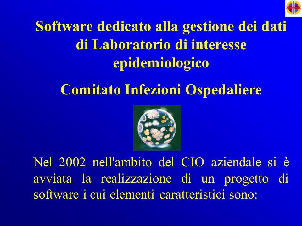 Software dedicato alla gestione dei dati di Laboratorio di interesse epidemiologico Comitato Infezioni Ospedaliere Nel 2002 nell'ambito del CIO aziend