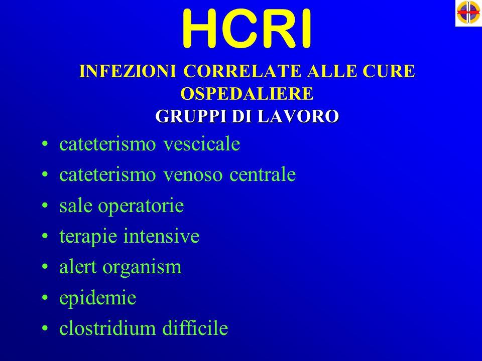 GRUPPI DI LAVORO HCRI INFEZIONI CORRELATE ALLE CURE OSPEDALIERE GRUPPI DI LAVORO cateterismo vescicale cateterismo venoso centrale sale operatorie ter