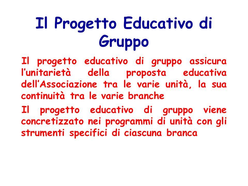 Il Progetto Educativo di Gruppo Il progetto educativo di gruppo assicura l'unitarietà della proposta educativa dell'Associazione tra le varie unità, la sua continuità tra le varie branche Il progetto educativo di gruppo viene concretizzato nei programmi di unità con gli strumenti specifici di ciascuna branca