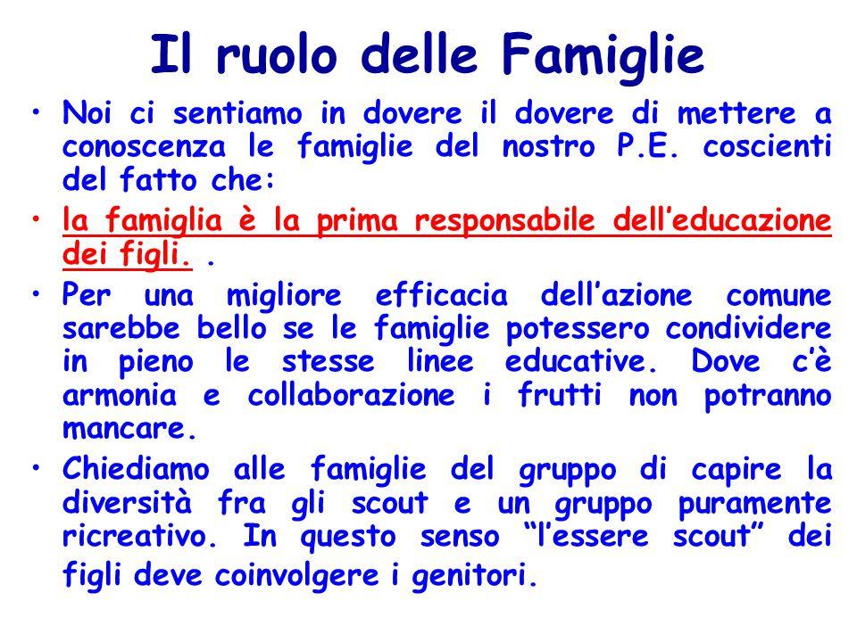 Il ruolo delle Famiglie Noi ci sentiamo in dovere il dovere di mettere a conoscenza le famiglie del nostro P.E.